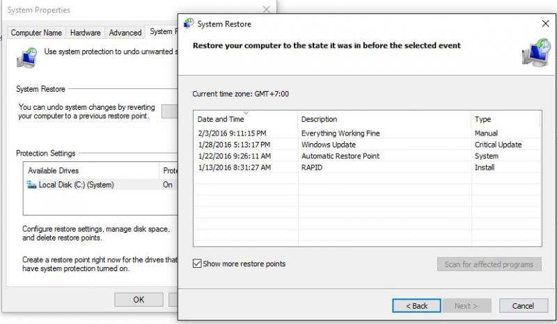 how to delete restore points in windows 10