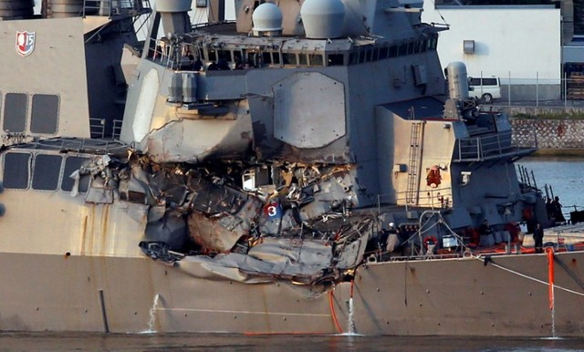 USS Fitzgerald crash: Navy holds memorial to seven sailors killed