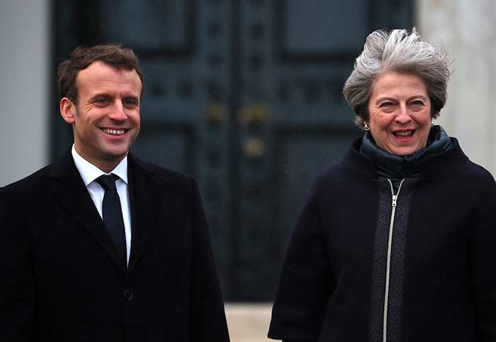 British PM welcomes French President Macron at UK-France summit