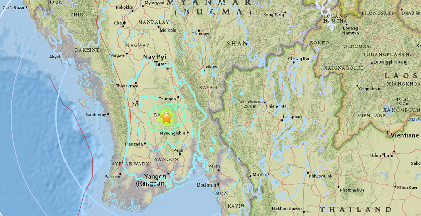 No damages, casualties reported in moderate quake  in southern Myanmar