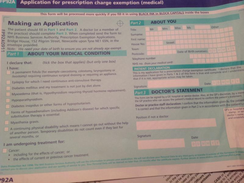 Renewal of UK NHS Medical Exemption (from Prescription Charge ...