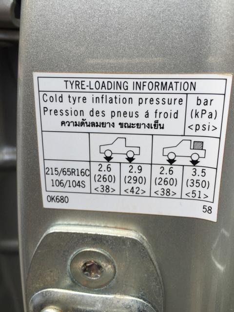 Tyre Pressure for 265/45/20 TOYOTA HILUX VIGO - Thailand