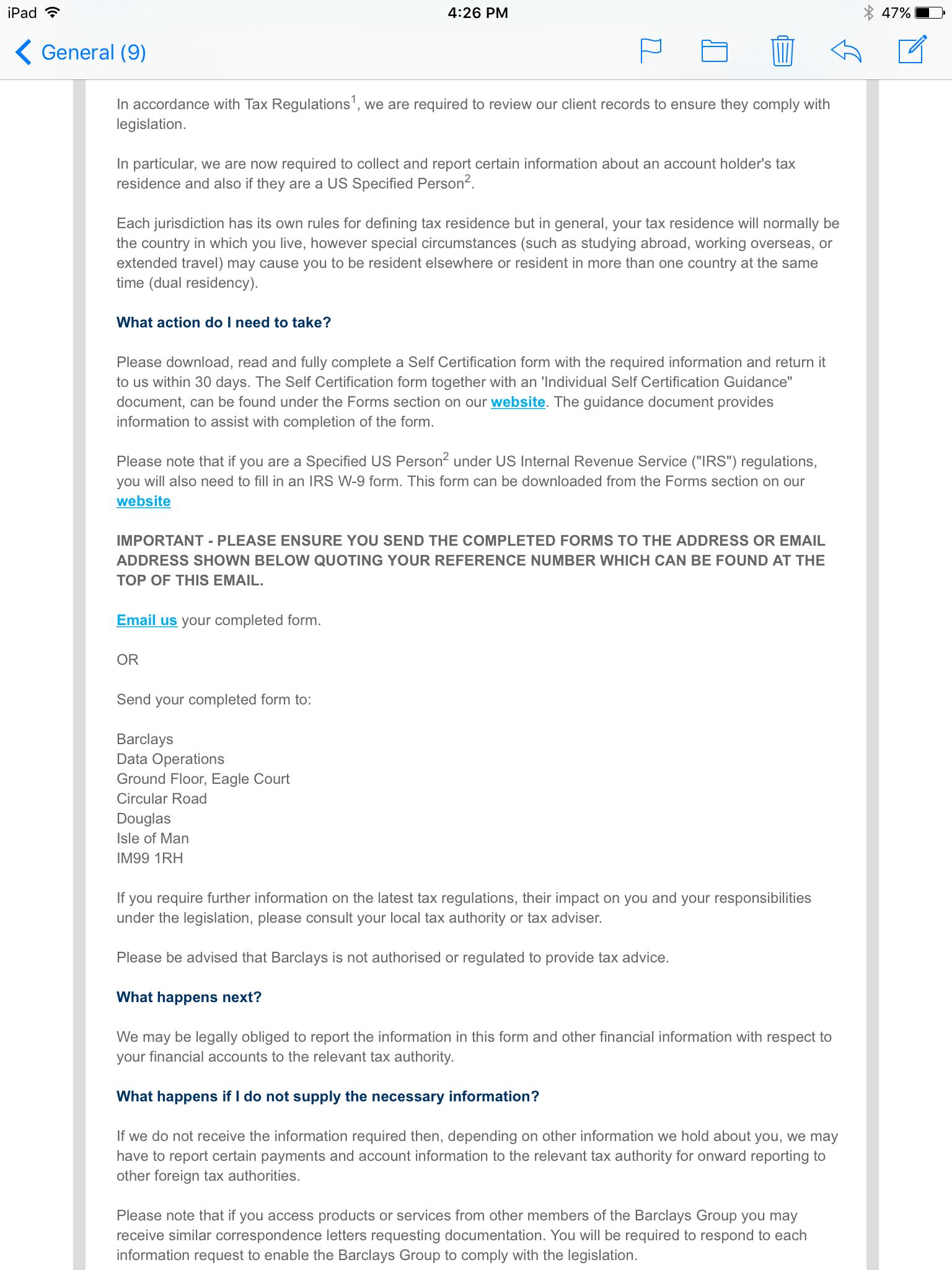 International Tax Compliance Regulations Self Certification Form