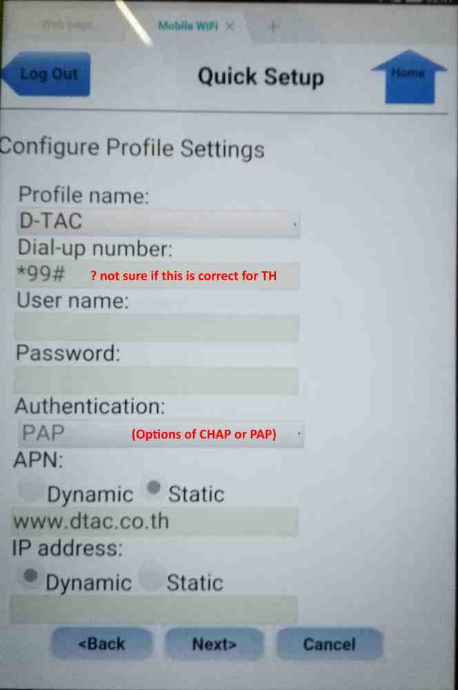 Settings for Pocket WiFi - Mobile devices - Thailand Visa