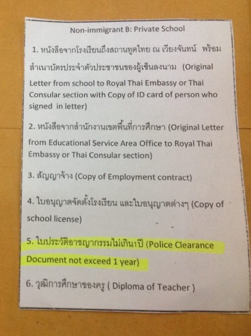 Police Clearance for Extension of Stay (Work) - Thai visas