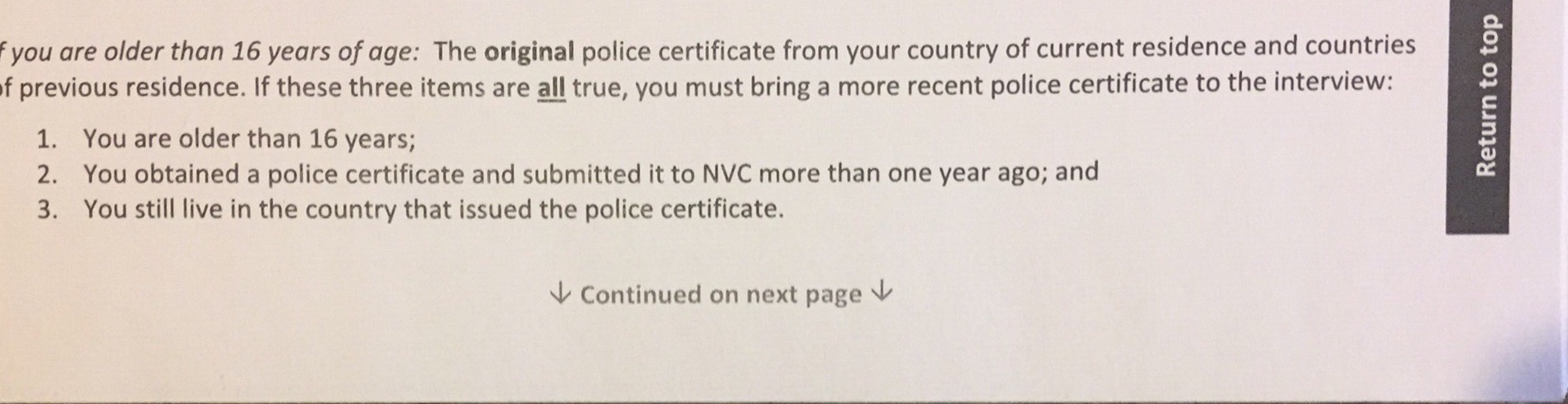 Police Clearance is valid for? - Visas and migration to