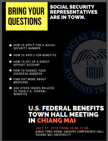 Applying for U S  Social Security Town Hall Meetings in Chiang Mai