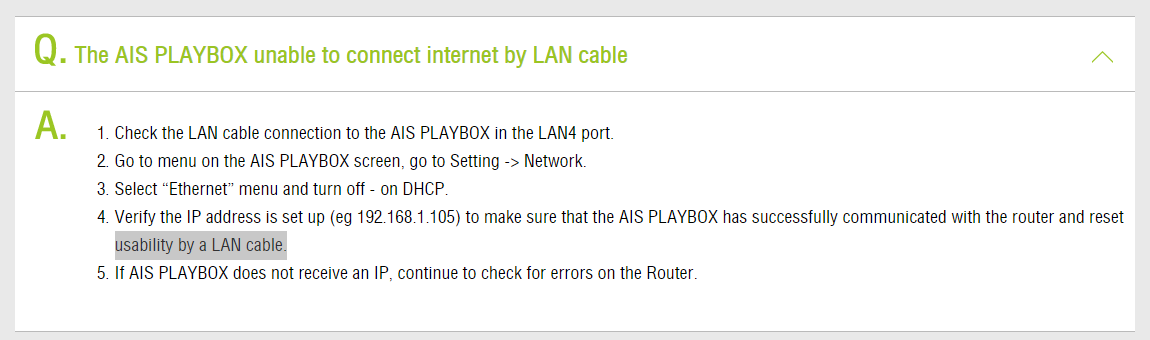 AIS Playbox losing internet connection when waking from standby