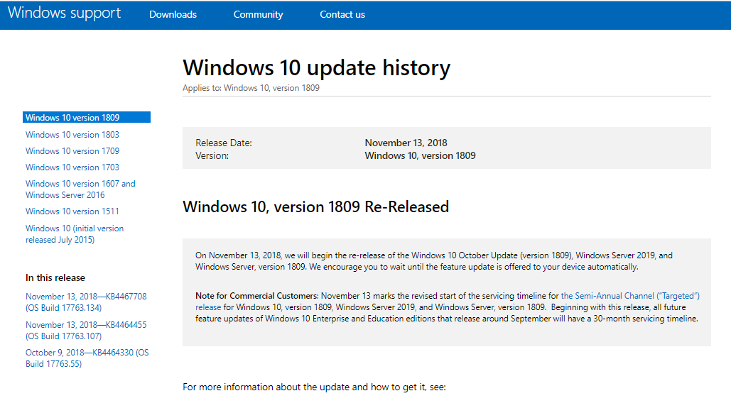 feature update to windows 10 version 1809