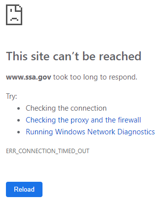 USA social security websites not opening - Home Country