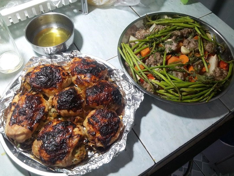Roast stuffed chicken with vegetables & meatballs.jpg