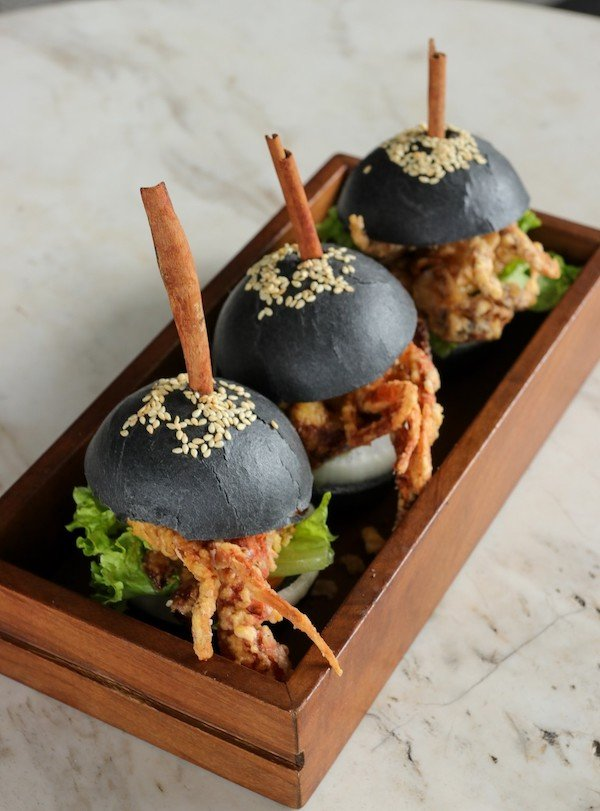 Soft Shell Crab, Foie Gras and Black Truffle with Charcoal Buns.jpg